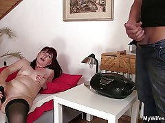 Hot mammy in law rides his cock