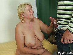 Granny jumps primarily son in law's cock