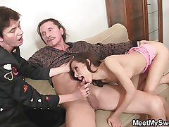 Naughty girl involved into 3some