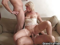 Throw over granny swallows two cocks