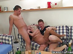 Partying guys lure granny come by threesome