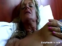 Chubby tit granny toying pussy