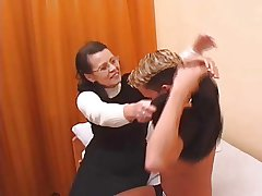 Hairy Granny less stockings fucked by pal