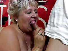 Venerable granny gets her hairy pussy drilled by young people