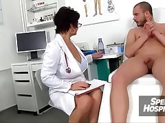 Sexy unalterable milf Beate milking young male patient