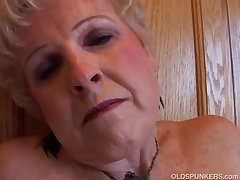 Very erotic grandma has a soaking soaking pussy