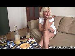 Hot blonde grandma enjoys two mint cocks