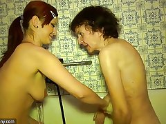 Mature granny together with nice mature woman bonking mature supplicant