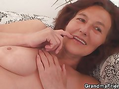 Underfed granny swallows two cocks