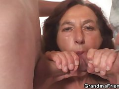 Naughty granny takes one young dicks
