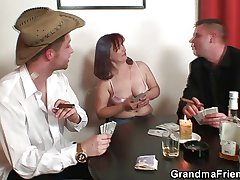 Hard 3some apropos oldie after strip poker