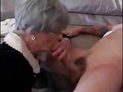 Breathless granny loving young cock
