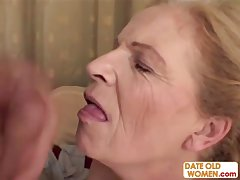 Blonde venerable grandma gets facial