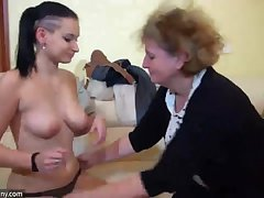Superannuated Granny with young Girl, granny masturbate with a toy and with young Gir