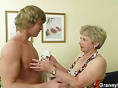 Young brace hammering elderly snatch