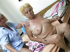 Matured inclusive using dildo on heavy granny
