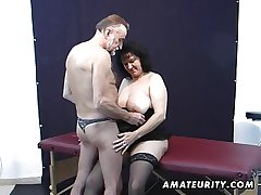 Old clumsy couple habitation action round cum aloft tits