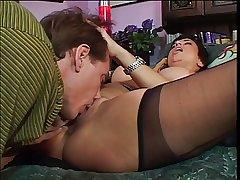 Mature unshaded seduces & bangs a fat cock