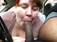 Chubby Full-grown Amateur Treating Black Dick In Passenger car