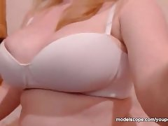 Melanyyx Big Tit webcam model playing connected with shaved pussy