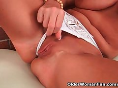 Mature milf down big tits added to long legs fucks yourself
