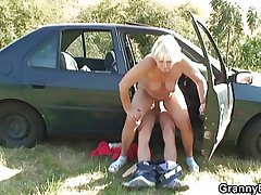She rides my horny cock right in the jalopy