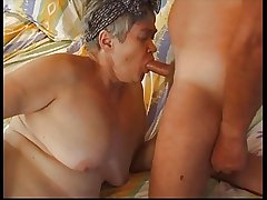 Hairy Beamy Granny in Stockings Fucks