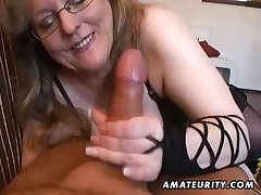 Busty amateur wife handjob and blowjob on every side cum in mouth