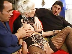 FRENCH MATURE 27 anal blonde overprotect milf with 2 younger men