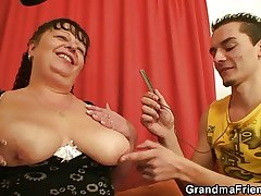 Fat adult bitch swallows one dicks