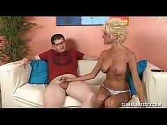 Sluty Mature Lady Jerks Off A Young Cadger
