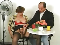 Soft full-grown in lingerie with trifle and cock