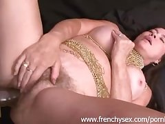 French full-grown woman in threesome with BBC