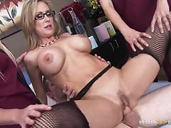 Mature stocking milf tugging and sucking