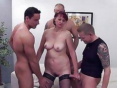 5 guys prevalent 1 mature woman