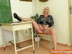 Cougar teacher loves yon masturbate after school