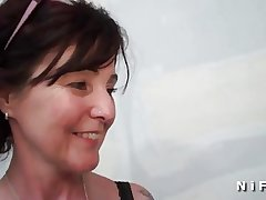 Sextape of a french mature getting a black cock in the brush arse