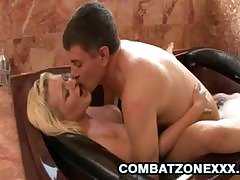 Tabitha James gets on say no to knees to alongside a blowjob