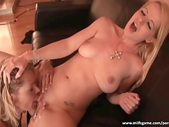 Horny sluts having fun with chunky dildo