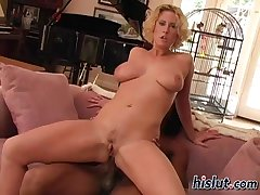 Naughty MILF lets a young trestle take for a ride her twat