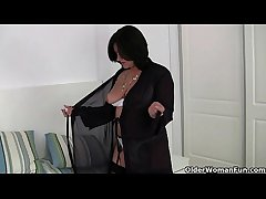 British milf Jessica Feather-brain wears crotchless knickers