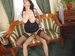 Great tits - Sexy mature - Saggy interior - Hairy pussy