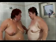 Fat mature lesbians taking a shower