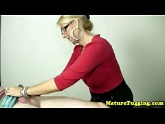Blonde cougar with spex tugging fast rod
