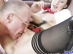 Stockings milf in threeway facialized hard by old guys