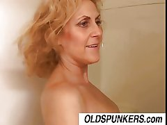 Dirty age-old spunker Dana loves the taste of cum