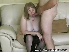 BBW amateur MILF mature sucking her husbands cock