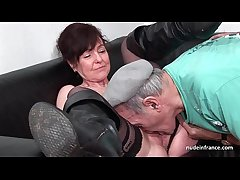 Amateur grown up steadfast DP and facialized in 3way with Papy Voyeur