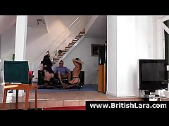 British lady Lara Latex fucked in threesome almost older guy