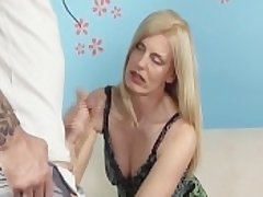 Horny Milf Jerks Off Say no to Step-Son